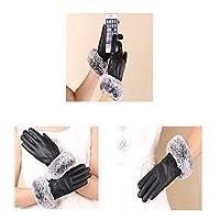 FIRECLUBウィンターレディPU模造ウサギの髪の手袋屋外の手袋厚く暖かいミトンのタッチスクリーン手袋 (Black, Free Size)