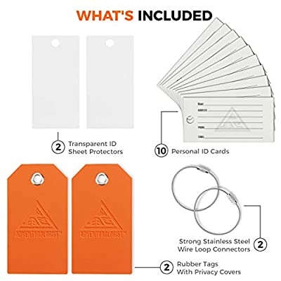 TRAVEL LUGGAGE TAGS WITH PRIVACY COVERS, SET OF 2- Easy Locking Steel Loops & Indestructible Rubber Labels For Smart Travellers - Best Tag For Men and Women for Preventing Loss Of Bags