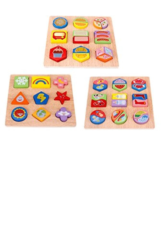 yasushoji 木のおもちゃ 知育玩具 パズル 形はめ 絵 合わせ 幼児 プレゼント お祝い おもちゃ つみき 教材 (タイプB)