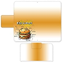 Qua Phone PX LGV33 ☆ ケース・カバー 完全受注生産 完全国内印刷 スライド式スマホケース 手帳型 イラスト ハンバーガーレシピ「フィッシュバーガー」 モトローラ パントン スマホカバー オリジナルデザイン プリント 日本製