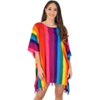 Island Style Clothing Ladies Kaftan Poncho Rainbow Fiesta Beach Dress Hippy Vertical Print