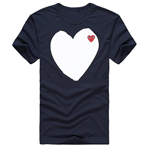 COMME des GARCONS PLAY lコム デ ギャルソン 春夏用半袖恋人 Tシャツカジュアルスタイル (L, BLUE)