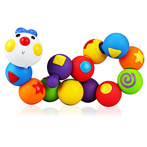 Dreampark赤ちゃんおもちゃ人気 積み木13pcs モンテッソーリ知育 新生児出産祝い 嵌め込みケムシ  立体パズル ブロック  知育玩具0歳1歳2歳  男の子女の子 プレゼント 入園祝い 集中力上がる
