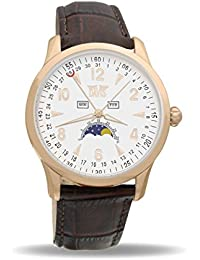 Davis-1506 ピンクゴールドメンズトリプル日付とムーンフェイズの時計 Mens Rosegold triple date and Moonphase watch-White dial-Brown leather strap