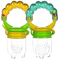 Baby Fresh Food Feeder With Rattle Silicone 2 PCS. Teething Toy Nibbler Pacifier For Safe Infant Feeding by Boxiki Kids. BPA Free Fully Tested and Certified for the USA [並行輸入品]