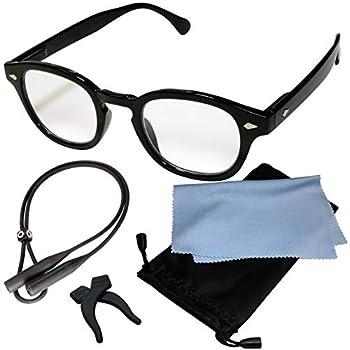(ジャパナイス)JapaNice 両手が使える メガネ型 拡大鏡 1.8倍 ルーペ グラス 5点セット BO025-6 (1.8倍 ブラックフレーム ブルーライトカットレンズ)