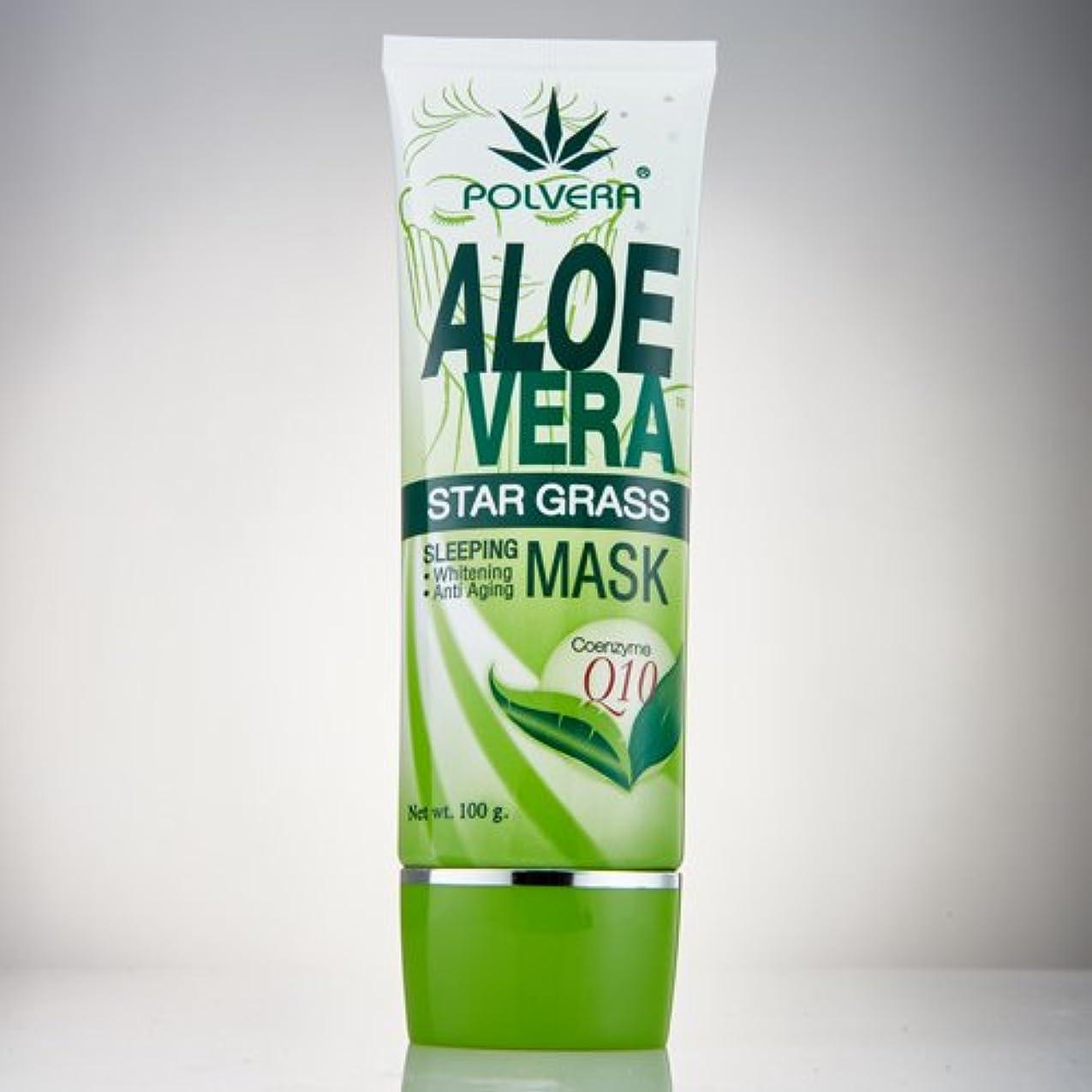 代表現実的ランチョンフレッシュアロエベラスターグラススリーピングマスクCo-Q10 Polvera Fresh Aloe Vera Star Grass Mask Gel Co-Q10 100g