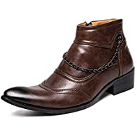 Sunny&Baby Men's Fashion Ankle Boots Casual Rustproof Metal Chain Pointed Toe High Top Boot Durable (Color : Brown, Size : 7.5 UK)