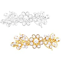 Rosemarie Collections Women's Set of Vintage Style Crystal Flower Hair Clips