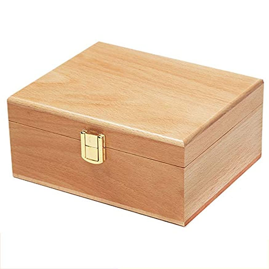 意図的規定近代化するエッセンシャルオイル収納ボックス オイルプレゼンテーションの日ダメージ油手作りの木製の精油収納ボックスの主催者を保護するのに最適なケース 丈夫で持ち運びが簡単 (色 : Natural, サイズ : 19X16X8.5CM)