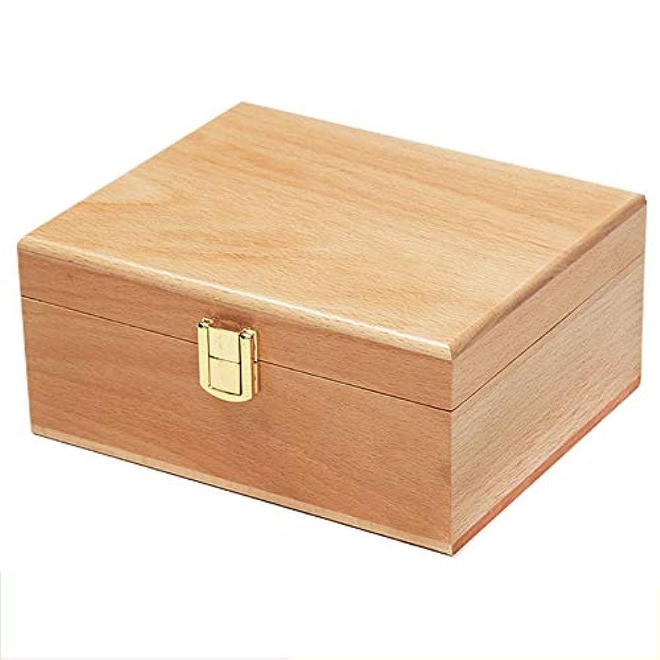 代わって前に十分なプレゼンテーションのために手作りの木製エッセンシャルオイルストレージボックス主催パーフェクトエッセンシャルオイルケースは被害太陽光からあなたの油を保護します アロマセラピー製品 (色 : Natural, サイズ : 19X16X8.5CM)
