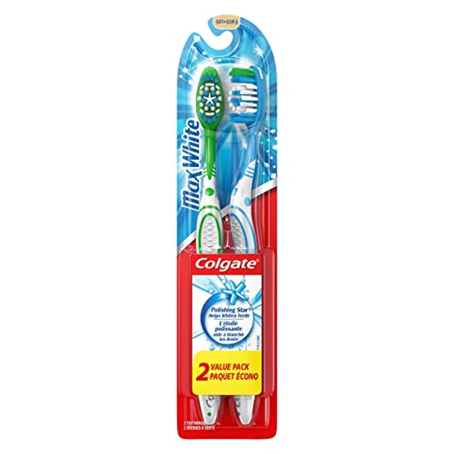 からかう成長相関するColgate マックスホワイトホワイトニング歯ブラシ、ソフト - 2カウント