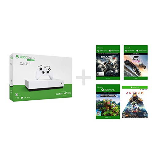 Xbox One S 1 TB All Digital Edition ソフト4本セット Forza Horizon 3 + Minecraft ダウンロード (同梱) Gears of War 4 ダウンロード版 + Anthem ダウンロード版 (配信)