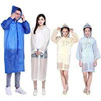 LIOOBO 4 Pcs Rain Ponchos Family Pack Transparent Raincoat Drawstring Hood Poncho Rainwear for Children and Adults