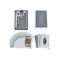 2パック防水 PVC プラスチックプレイングカードポーカーセット、54pcs デッキポーカークラシックマジックトリックツール理想的な贈り物、読みやすい色を区別,6939BLACK