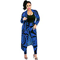 Nice2co Women 2 Piece Outfits Floral Long Sleeves Open Front Cardigan Cover up with Leggings High Waist Long Pants Set