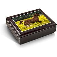 母とBaby Horse ( Foal ) in the PrairieタイルMusicalジュエリーボックス 24. Anniversary Song MBA-44TL-Horsefoal