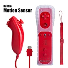 Wii Remote Controller with Built in Motion Plus and Nunchuk, Red, 1 Pack, Compatible for Nintendo Wii, Wii U