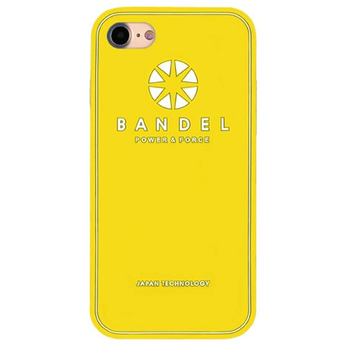 最悪嫌悪時間バンデル(BANDEL) ロゴ iPhone 8専用 シリコンケース [イエロー×ホワイト]