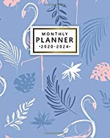 Monthly Planner 2020-2024: Pretty Flamingo Five Year Schedule Agenda & Organizer | 5 Year Spread View Planner, To-Do's, Holidays & Inspirational Quotes, Vision Boards & Notes | Abstract Tropical Print