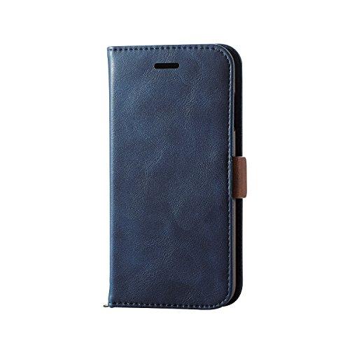 エレコム iPhone7 / アイフォン7 ソフトレザーケース マグネット 手帳型 ネイビー PM-A16MPLFYMBUD