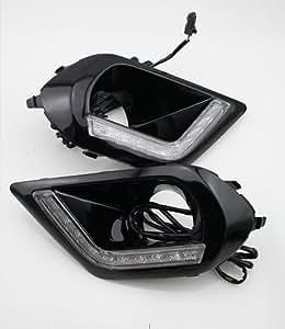 スバル 新型 フォレスター 専用設計 フロント LED デイライト付き フォグ ランプ カバー ベゼル ガーニッシュ バンパー グリル ライト ブラック アクセサリー ライナー カスタム パーツ SJ SJ5 一体型