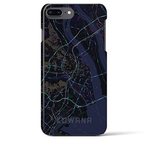 【桑名】地図柄iPhoneケース(バックカバータイプ・ブラック)iPhone 8Plus /7Plus / 6sPlus / 6Plus 用全国400以上の品揃え #あなたの街もきっとある