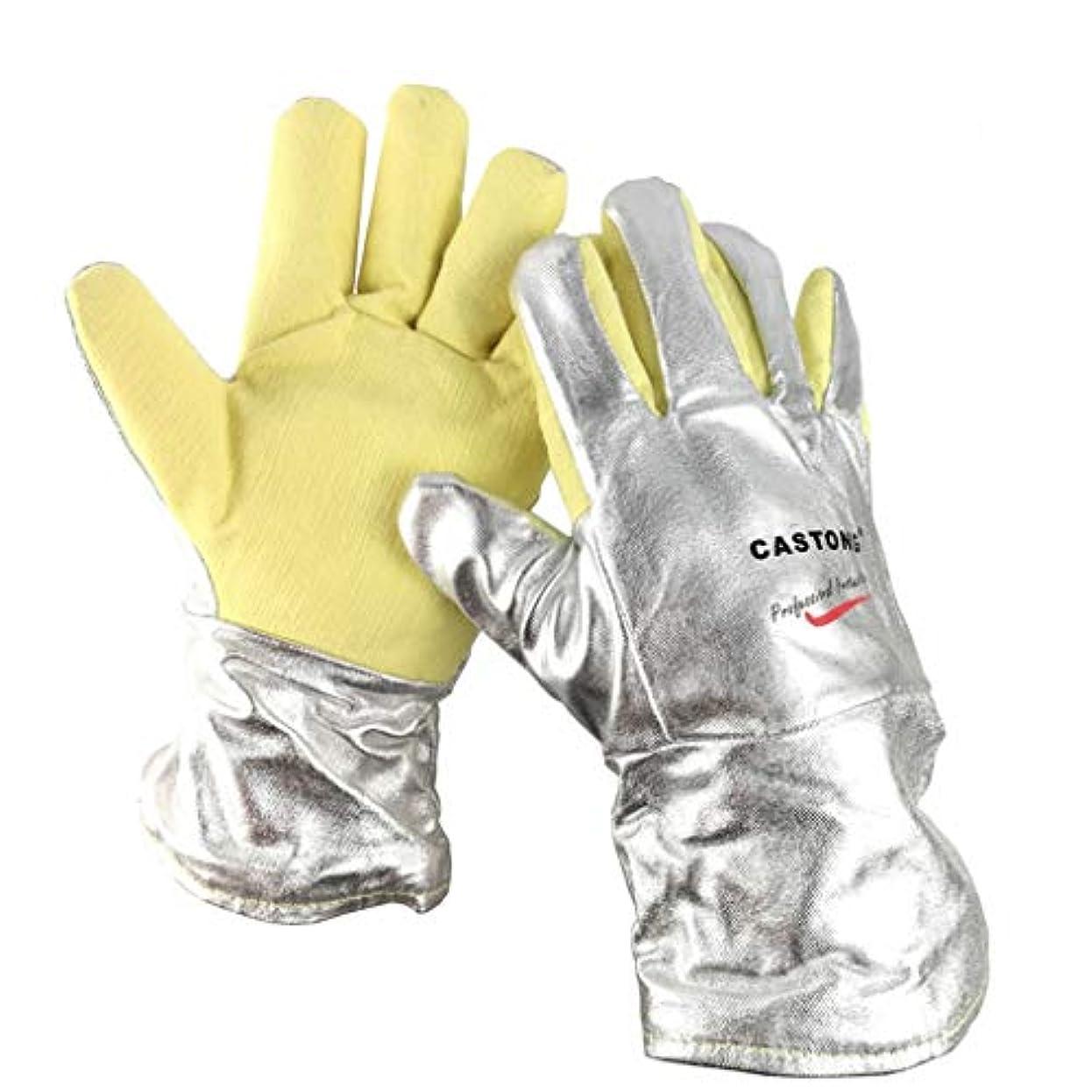 まともなターゲットスリップシューズ高温耐性500度高温耐性手袋抗輻射熱抗切断抗スカルディング用金属製錬電気溶接ボイラー34センチ