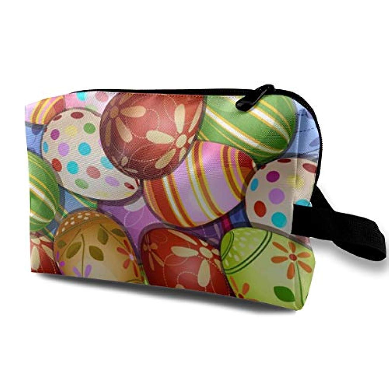 広範囲異常な扱いやすいHappy Easter Fashionable Colorful Eggs 収納ポーチ 化粧ポーチ 大容量 軽量 耐久性 ハンドル付持ち運び便利。入れ 自宅?出張?旅行?アウトドア撮影などに対応。メンズ レディース トラベルグッズ