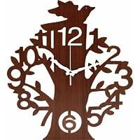不二貿易 壁掛け時計 ツリー ブラウン ブラウン FBC56924 【まとめ 10セット】