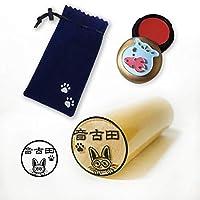 印鑑 にゃんこのはんこ 本柘 15mm かわいい金魚鉢の朱肉&猫の巾着袋セット (ギョロメ, 柘15mm)