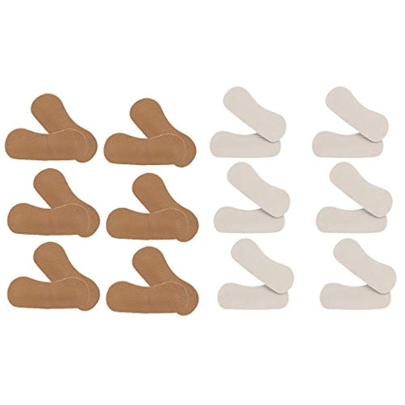 プロット気分が良いほとんどないchiwanji ヒールパッド クッション PUレザー かかと パッド 靴擦れ防止 保護 フットケア 男女兼用 12ペア