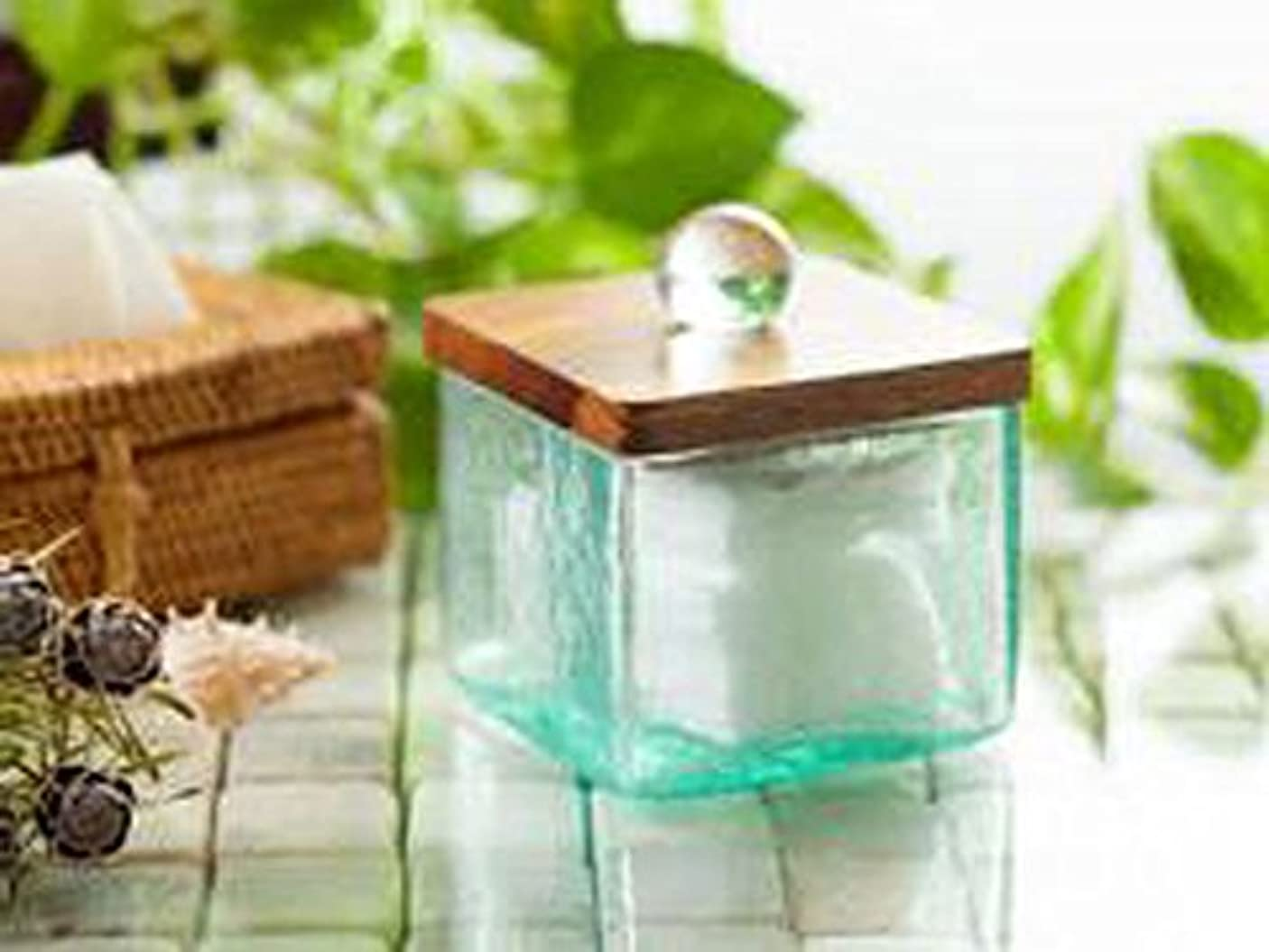 ハントお酒再生可能コットンケース 海の色のようなグリーンガラスと木目の美しいチーク材 8×8×9 cm