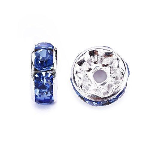 腕輪ネックレスイヤリング宝石類制作手仕事デザインのためのバッグあたりjennysun2010チェコクリスタルラインストーン18K銀メッキ7mmライトサファイアラウンド丸ガラス直定規スペーサービーズ100pcs