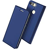 Anero Huawei nova lite 2 ケース 手帳型 高級PU レザー 耐衝撃 薄型 軽量 カード収納 nova lite2 / P smart 専用 財布型 マグネット スタンド機能付き スマホケース 耐汚れ シンプル 人気 おしゃれ ケース (ブルー)