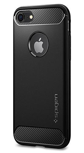 【Spigen】 iPhone8 ケース / iPhone7 ケース, [ 米軍MIL規格取得 Qi充電対応 落下 衝撃 吸収 ] ラギッド・アーマー アイフォン 8 / 7 用 耐衝撃カバー ( iPhone8 / iPhone7, ブラック)