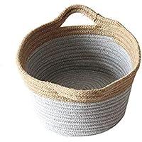 収納バスケット 編み収納ボックス バスケット 幅34×奥行14cm 環境にやさしい 自然な 大容量 綿麻製 収納カゴ どこでも収納ボックス雑貨の仕上げボックス