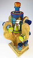 メキシカン ショットグラス テキーラ メイキングシーン 手描き ボトルセット ハンドメイド 木製 サガロ サボテンディスプレイラック 6個セット
