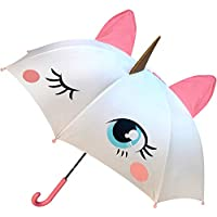 luluburd Girls Unicorn Umbrella, Easy to Open for Kids w POP-UP Horn, Ears & 3D Mane