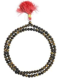 Certified Natural Tiger Eye -108 + 1ビーズロザリオ/Japa Mala : 6 – 7 mm : Blessed & Energised、hindu-tibetan-buddhist-christian...