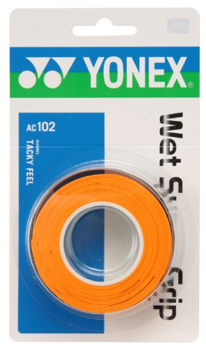 ヨネックス(YONEX) テニス バドミントン グリップテープ ウェットスーパーグリップ (3本入り) AC102 オレンジ