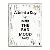 """スポットカラーアートAジョイントA Day Keeps The Bad Mood Away Sayingキャンバス印刷画像フレームホーム装飾壁アートギフトアイデア 22"""" x 29"""" ホワイト QUOTEWHITE-99111015WH2229WW"""