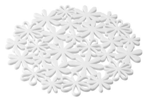 山崎実業 ナベ敷き フラワー ホワイト 約W20×D20×H0.5cm 7679