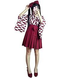 Rimocy 昭和レトロ風袴3点セット コスチューム ブラック 金魚柄 改良 着物 和服 上下浴衣セット