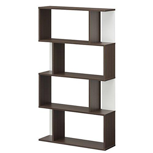 【Amazon.co.jp限定】白井産業 ディスプレイラック 約 幅80 奥行24 高さ143 cm 本 棚 bookshelf ブラウン (KI2-1480 DK キアエッセ2)