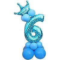 Funpa バルーン 風船 65cm 0-9 数字 1歳 100日 誕生日 部屋 パー パーティー 壁 装飾 掛け飾り お祝い 記念日 アルミ箔 ブルー 9タイプ選択 (6)