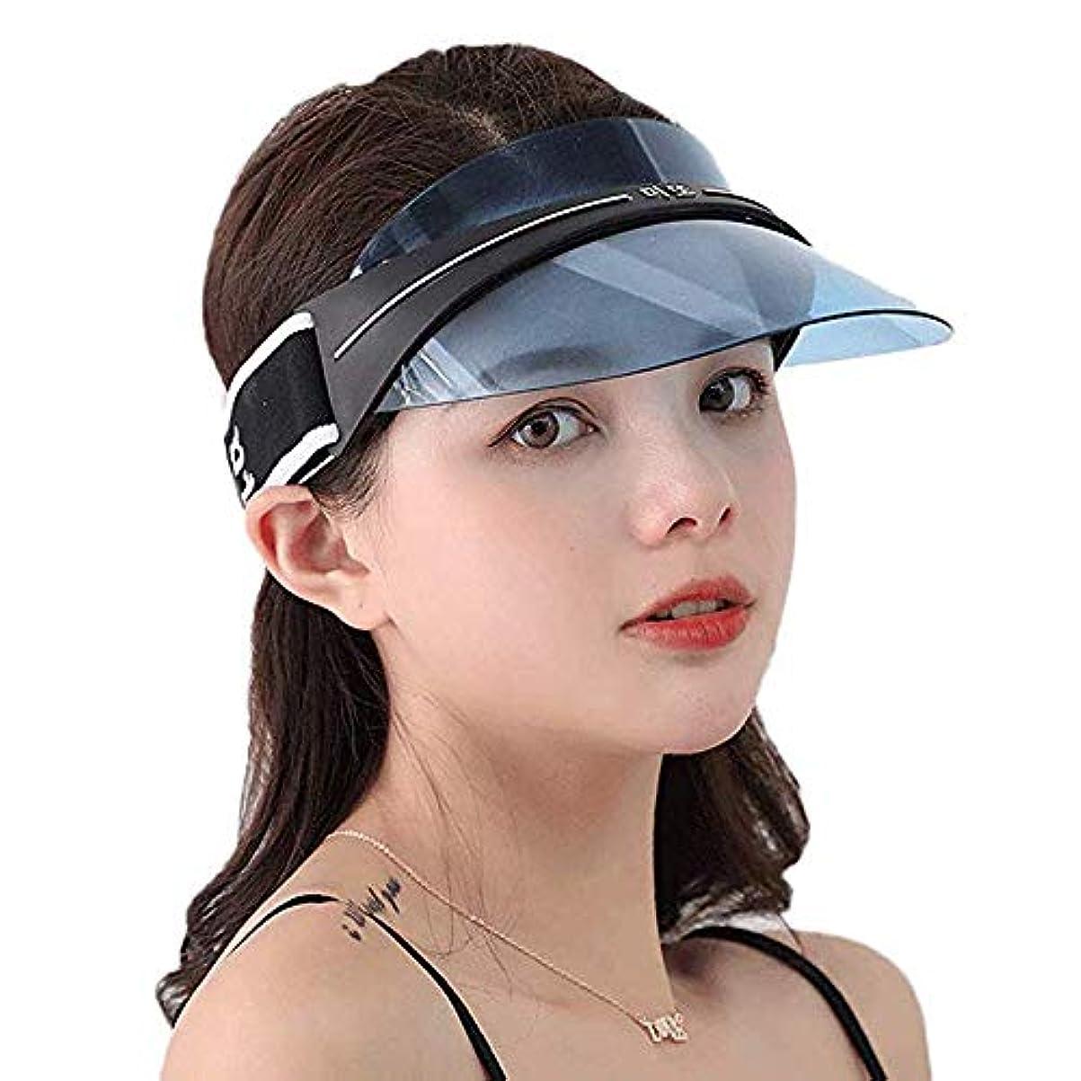 放課後肘船上サンバイザー レディース メンズ 男女兼用 レインハット レインバイザー 自転車 キャップ UVカット UPF50+ 紫外線対策 日焼け対策 つば広 ワイド おしゃれ 帽子 (ブルー)