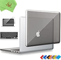 "ueswill 3in1光沢クリスタルクリアSee Throughハードシェルケースとシリコンキーボードカバーfor MacBook Retina +マイクロファイバークリーニングクロス MacBook Pro 13"" with Retina Display グレー UES05C13R3-03"