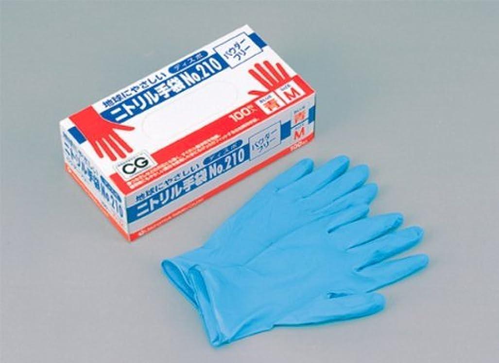 製造つなぐ勃起ニトリルディスポ手袋 青 No.210 パウダーフリー(100枚入)LL