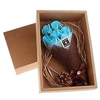 石鹸の花 永遠花 花とボックス 美しいギフトボックス バレンタイン ギフト 多色選べる - 青